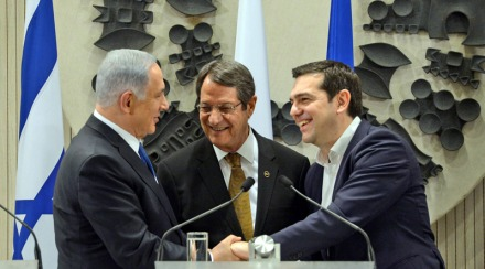 PM Netanyahu in Nicosia with Cyprus President Anastasiades and Greek PM Tsipras